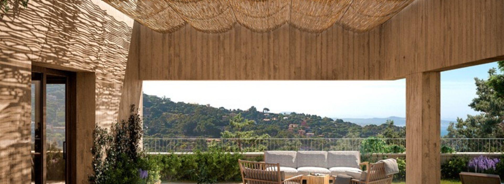 Terraza de Jardins de Sa Riera promoción inmobiliaria de obra nueva en Begur. TR Grupo Inmobiliario.